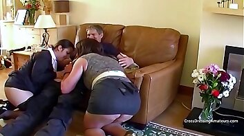Older tranny with thick shaven lady and a guy