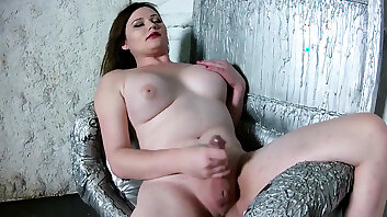 Busty horny russian ts chick tugs her dick